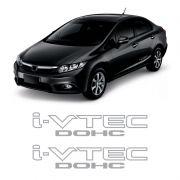 Par de Adesivos Laterais Honda Civic I-vtec Dohc Prata