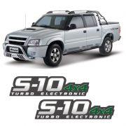 Par De Adesivos S10 2009/2011 Turbo Electronic 4x4 Verde