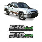 Par de Adesivos S10 Rodeio 4x4 Turbo Eletronic Verde (Porta)