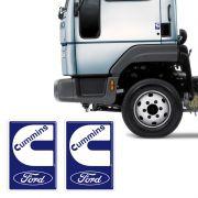 Par De Emblemas Cummins Ford Cargo Adesivo Resinado Caminhão