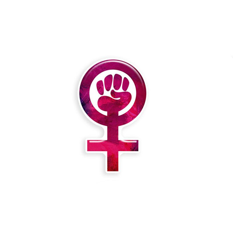 Adesivo Simbolo Feminismo Resinado Mulher Rosa