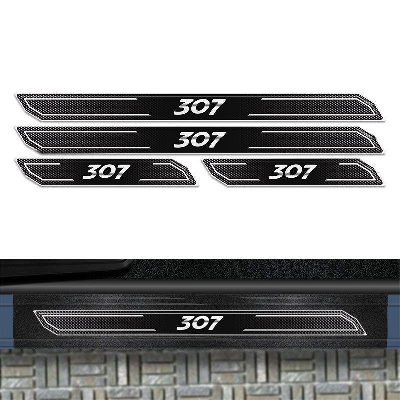 Jogo de Soleira Diamante Peugeot 307 Com Protetor De Porta