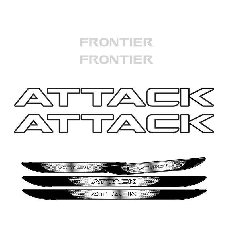 Kit Adesivo Faixa Frontier Attack Preto + Soleira Black Over