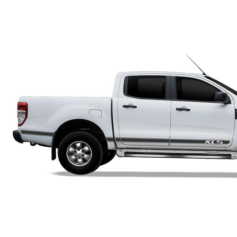 Kit Adesivo Ford Ranger Xls Faixa Lateral Grafite Decorativo