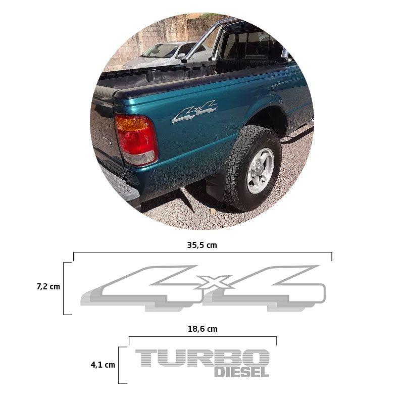 Kit Adesivos 4x4 + Turbo Diesel Ranger 98/04 Emblemas Prata