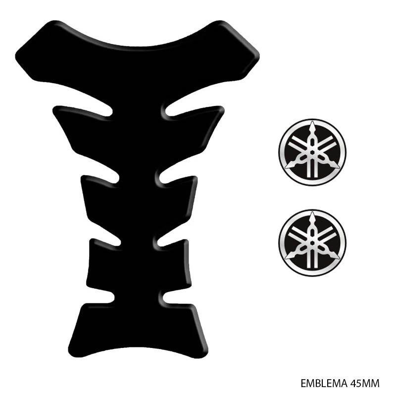 Kit Adesivos Moto Tank Pad Black + Emblemas Logo Yamaha 45mm