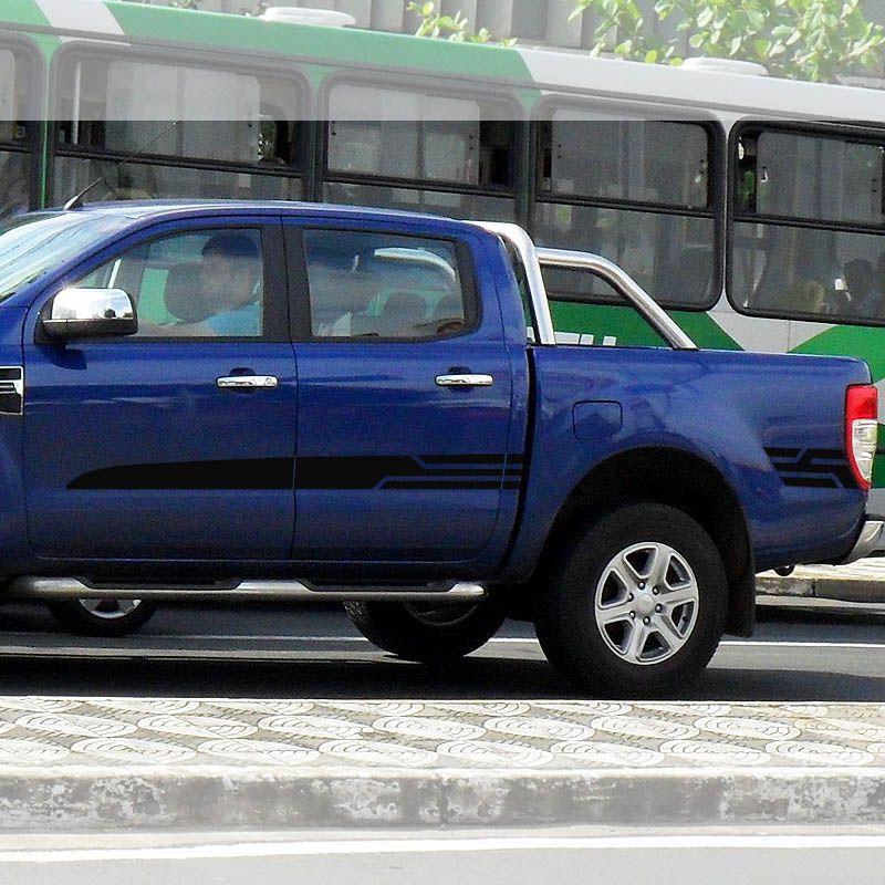 Kit Faixa Ford Ranger Sport 14/19 Adesivo Preto Cabine Dupla