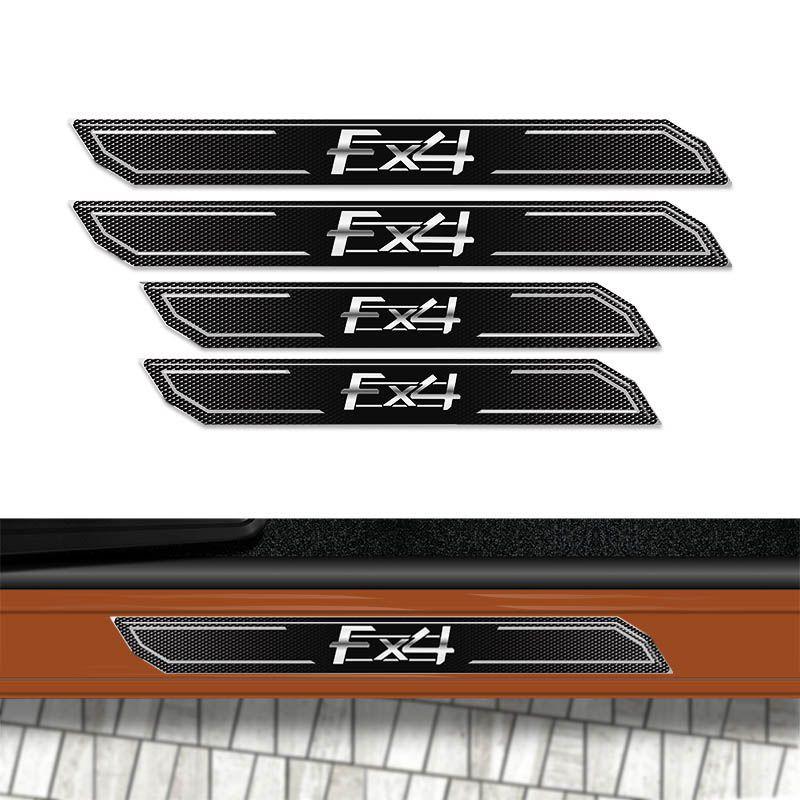 Kit Faixa Ranger FX4 Adesivo Preto + Soleira Da Porta 13/19