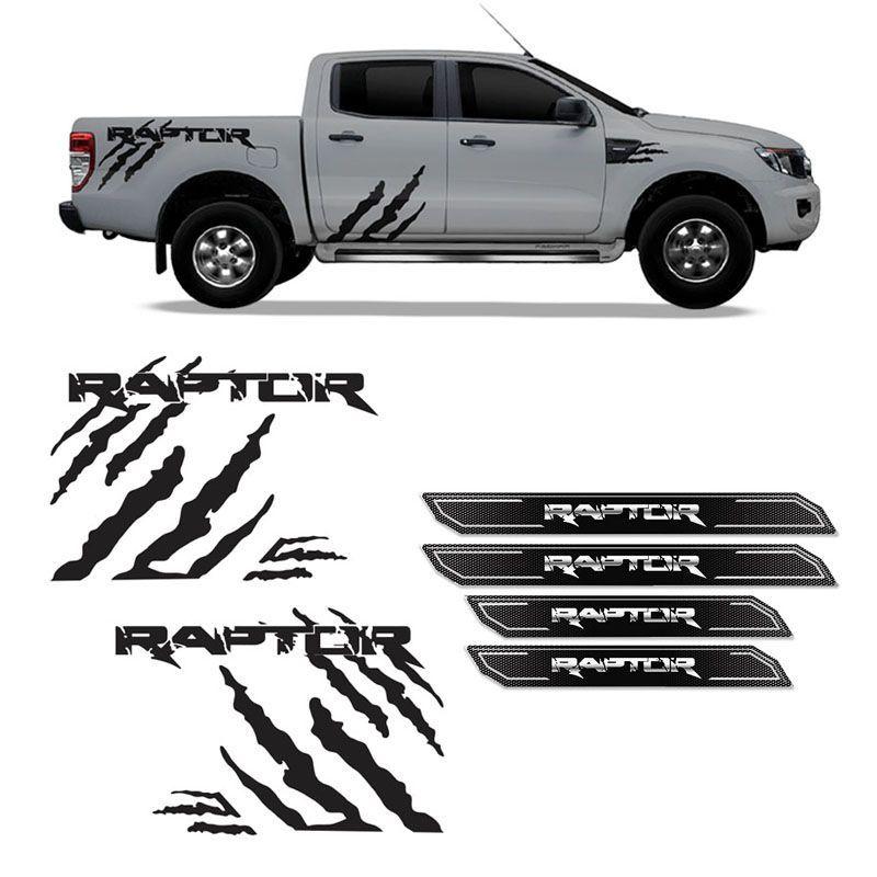 Kit Faixa Ranger Raptor Adesivo Preto + Soleira Com Protetor