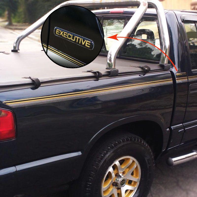 Kit Faixa S10 Executive 99/00 Cabine Simples Adesivo Dourado