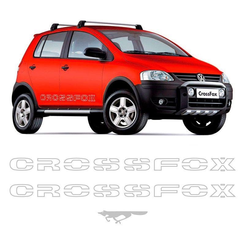 Kit Faixas Crossfox 2006 07 Adesivo Lateral Prata Volkswagen