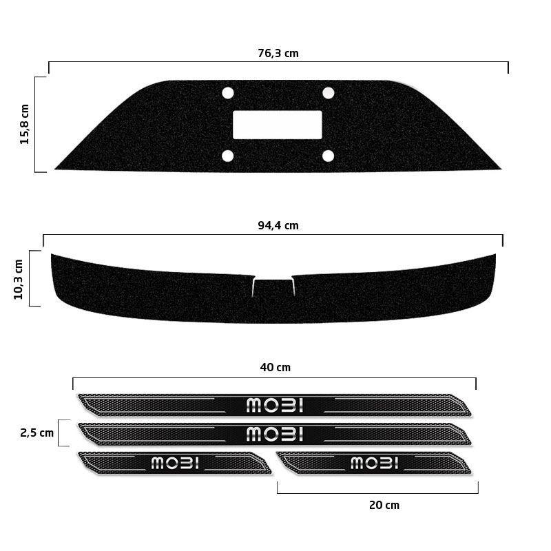 Kit Protetor Fiat Mobi 2018 Adesivo Placa + Soleira Da Porta