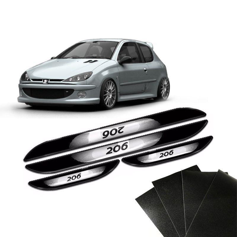 Kit Soleira Da Porta Peugeot 206 1999 a 2012 Com Black Over