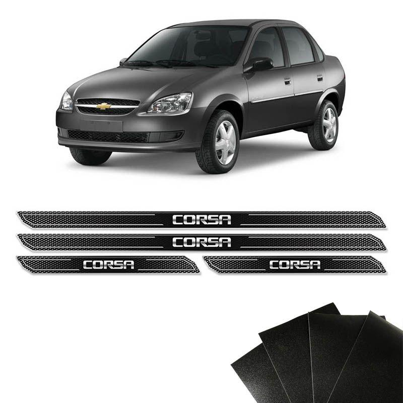 Kit Soleira Diamante Corsa Hatch Sedan Com Protetor De Porta