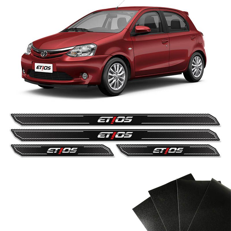 Kit Soleira Diamante Etios Hatch Sedan Com Protetor De Porta