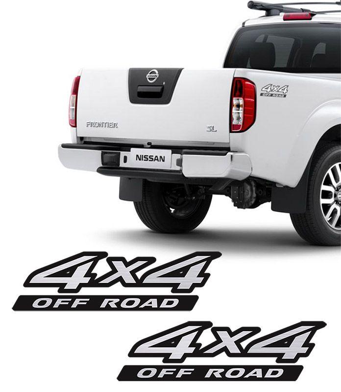 Par de Adesivos 4x4 Off Road Nissan Frontier Escovado 09/16