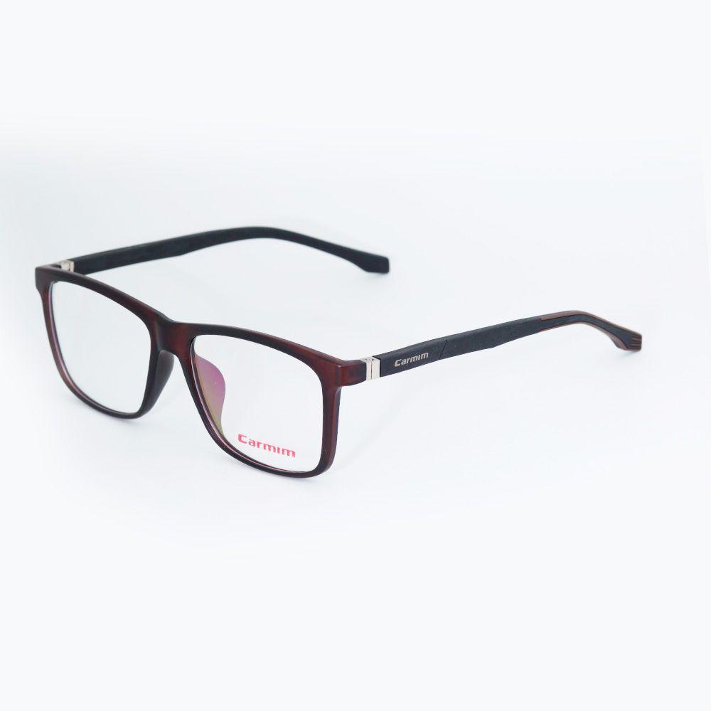 Óculos de Grau Carmim Preto Fosco Quadrado 41232