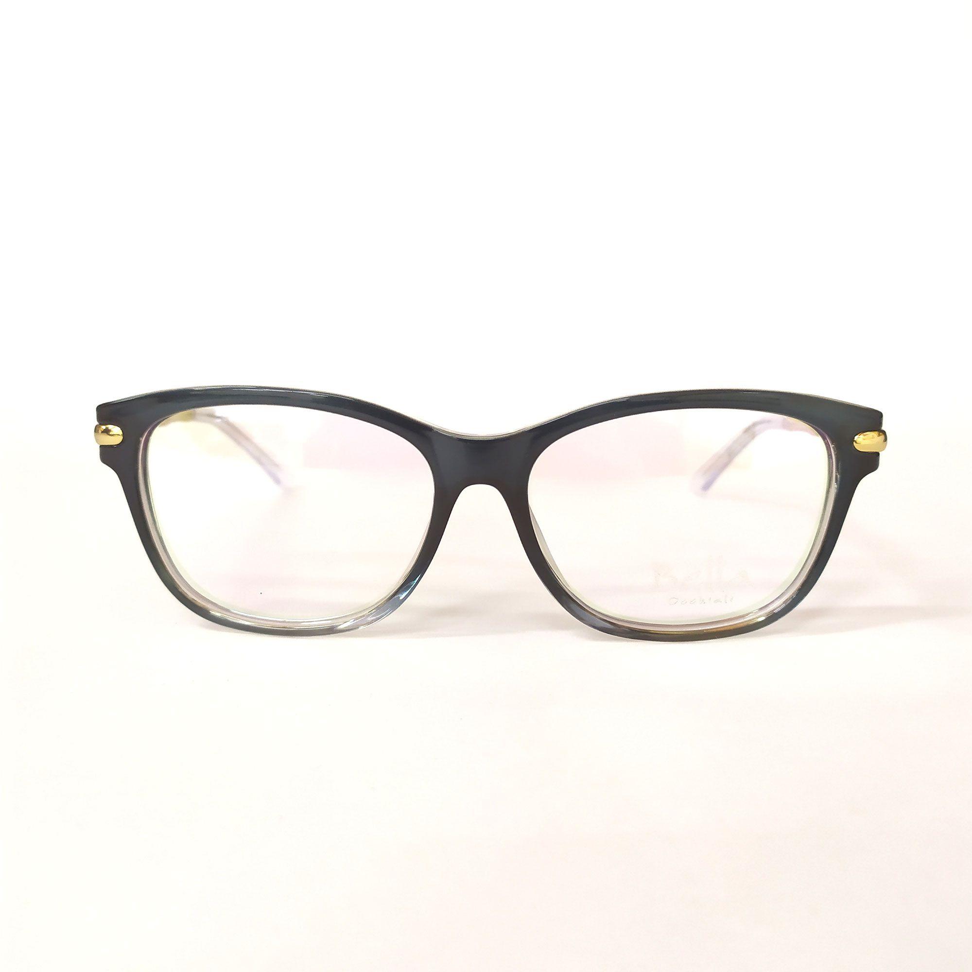 Óculos de Grau Bella Preto com Haste Dourada B2148-TR