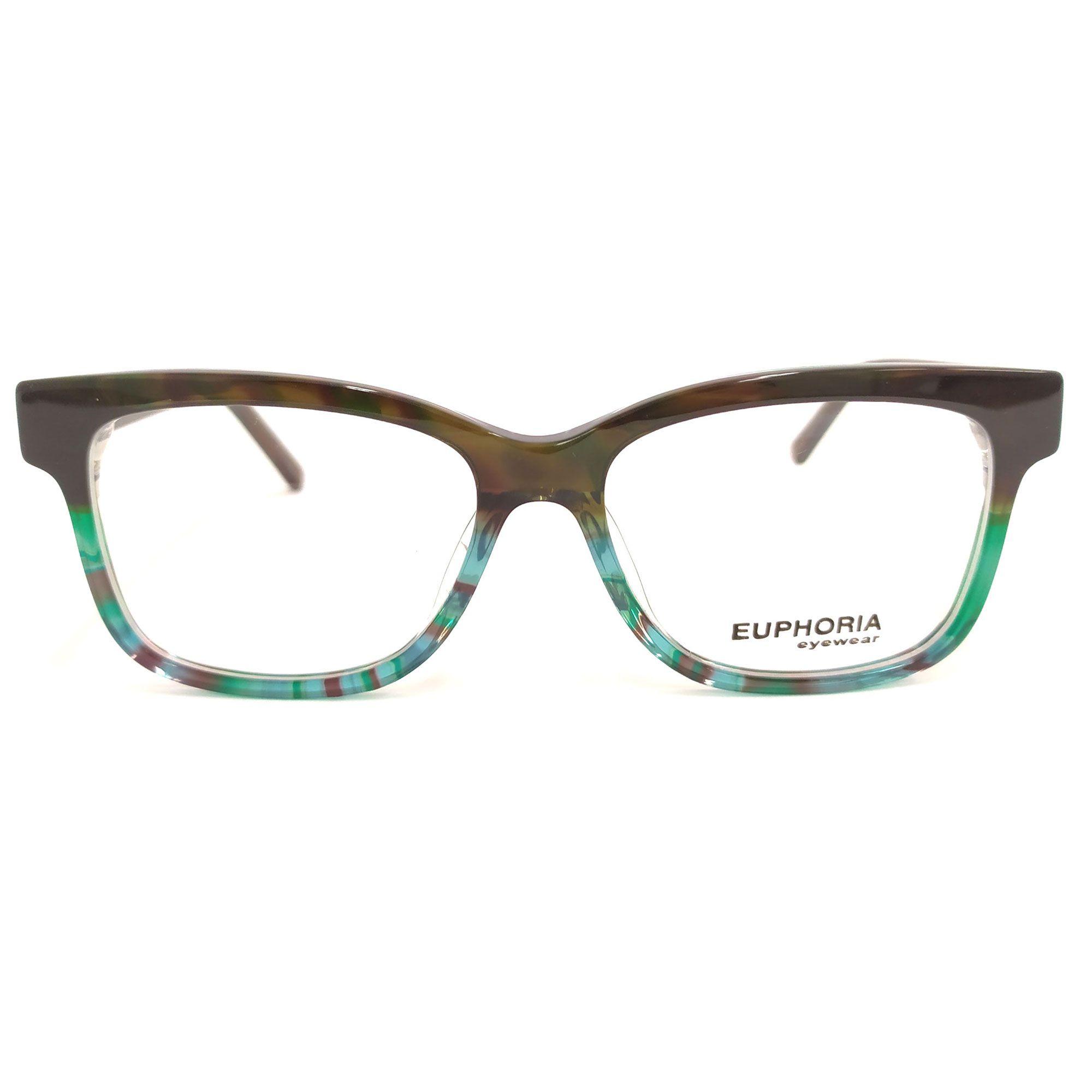 Óculos de Grau Euphoria Preto/Verde Haste Marrom B3272 C1