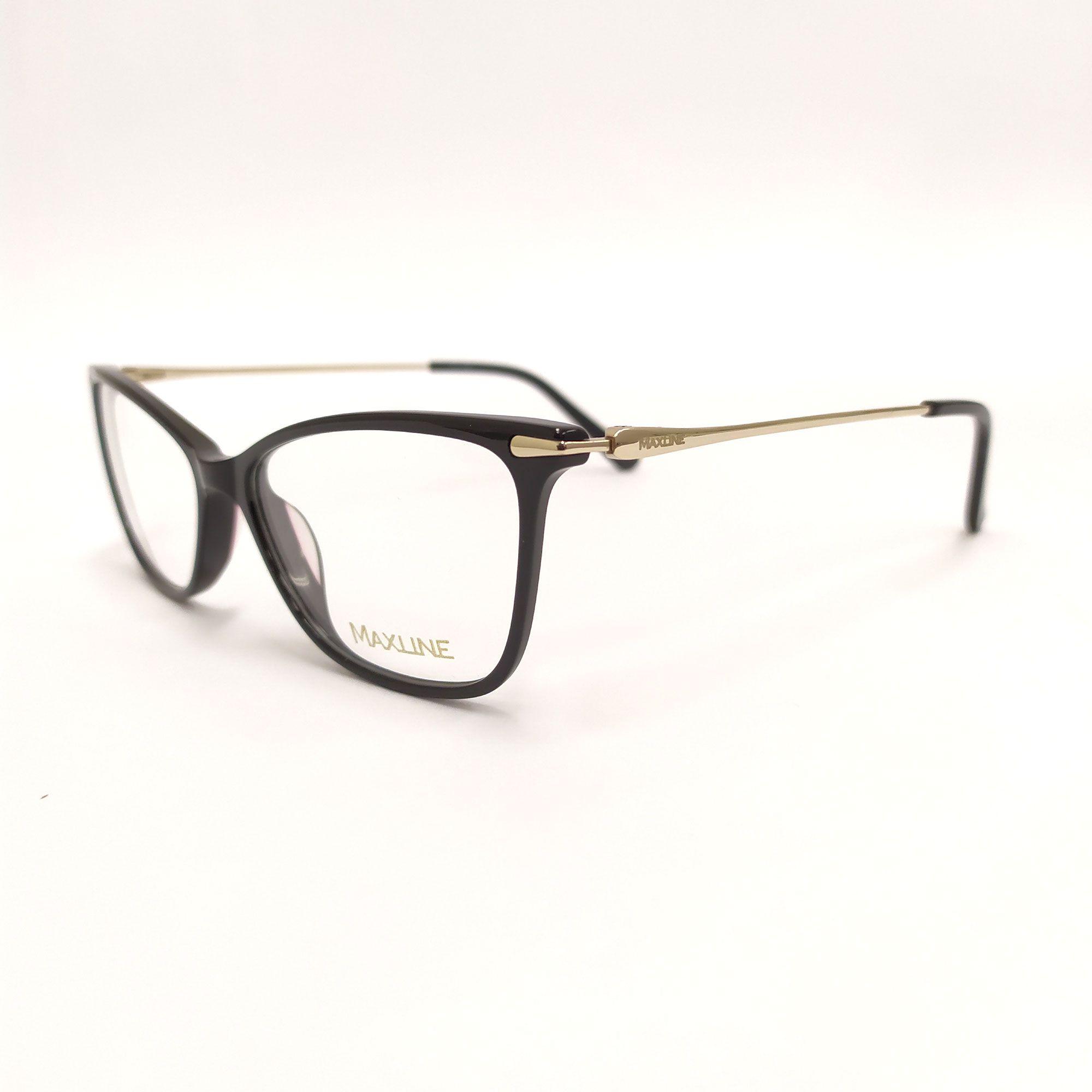 Óculos de Grau Maxline Preto Haste de Metal ML0197