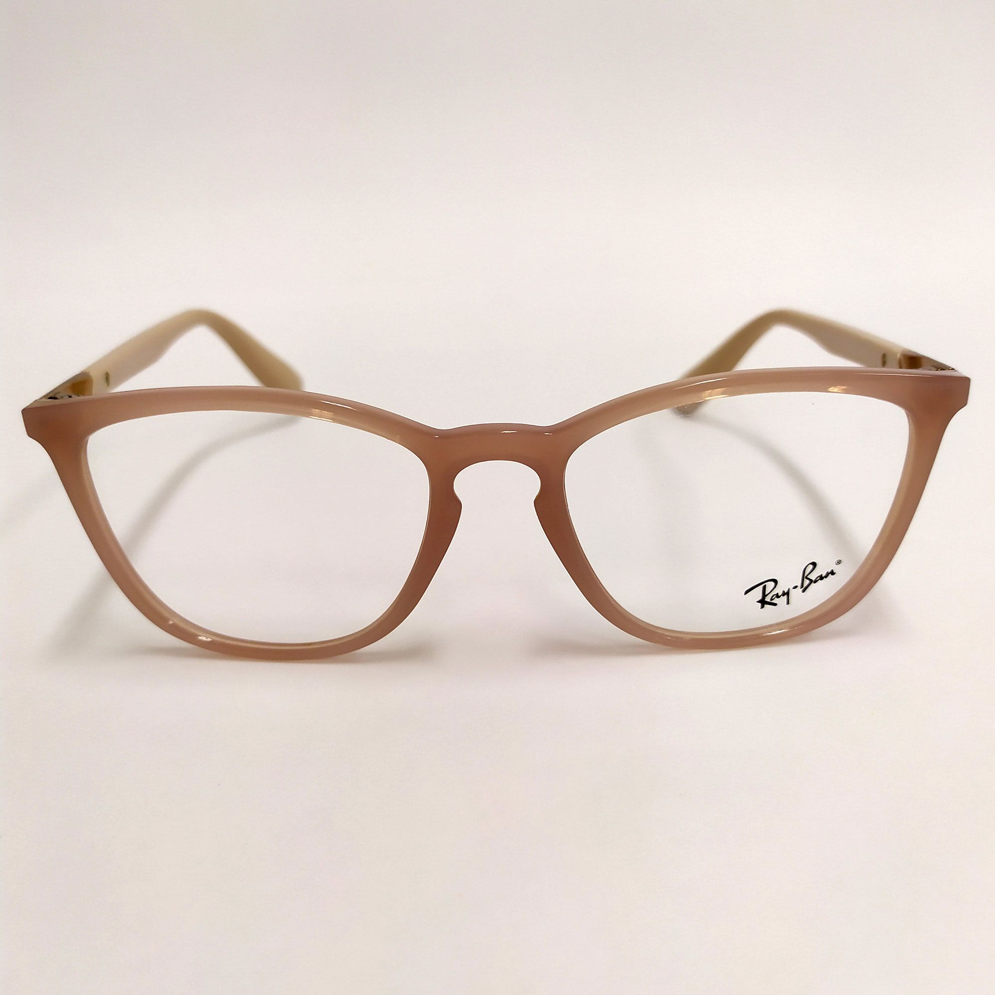 Óculos de Grau Ray-Ban Marrom-Claro/Nude com detalhe em Cobre nas Hastes   7136L