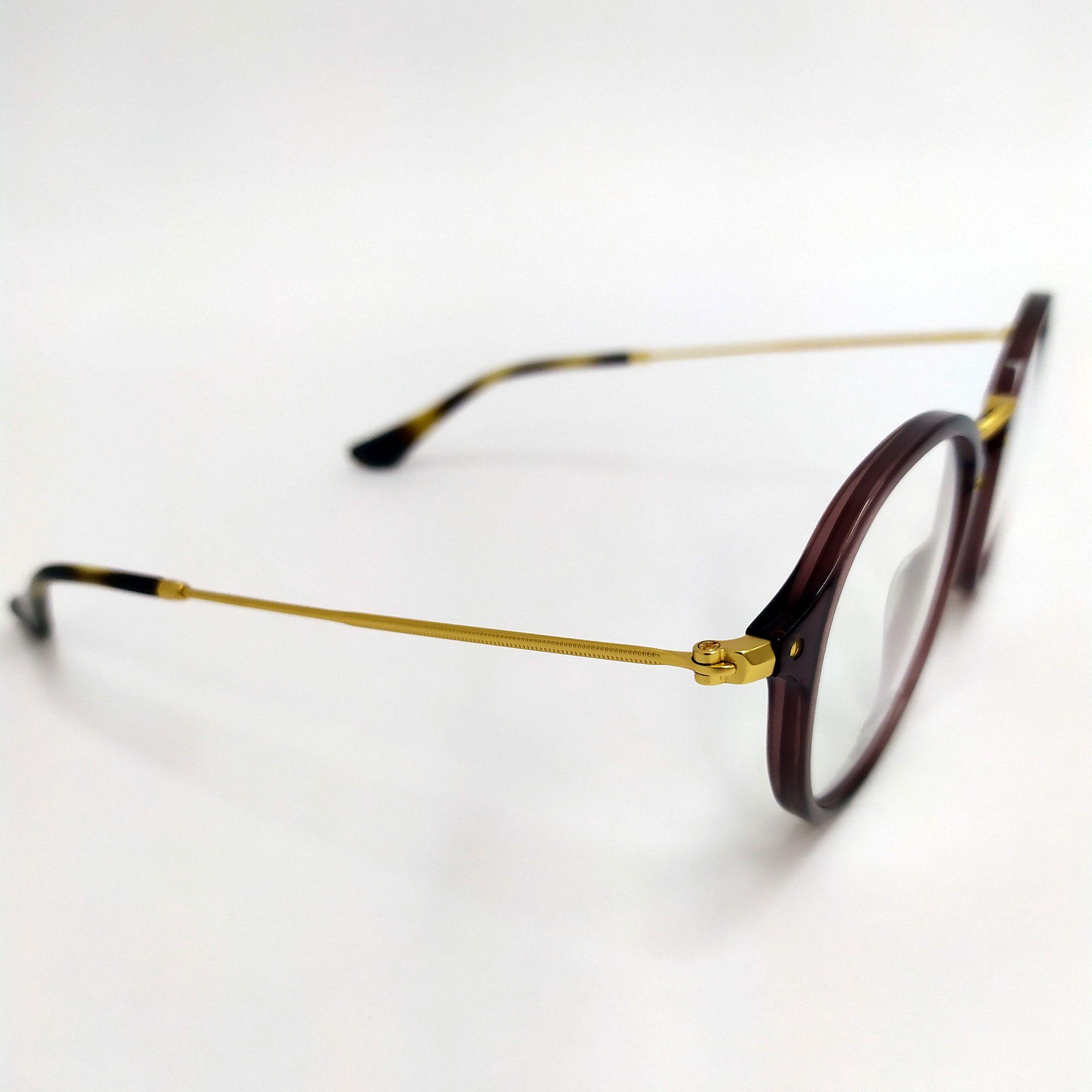Óculos de Grau Ray-Ban Marrom com Haste Dourada 2447V