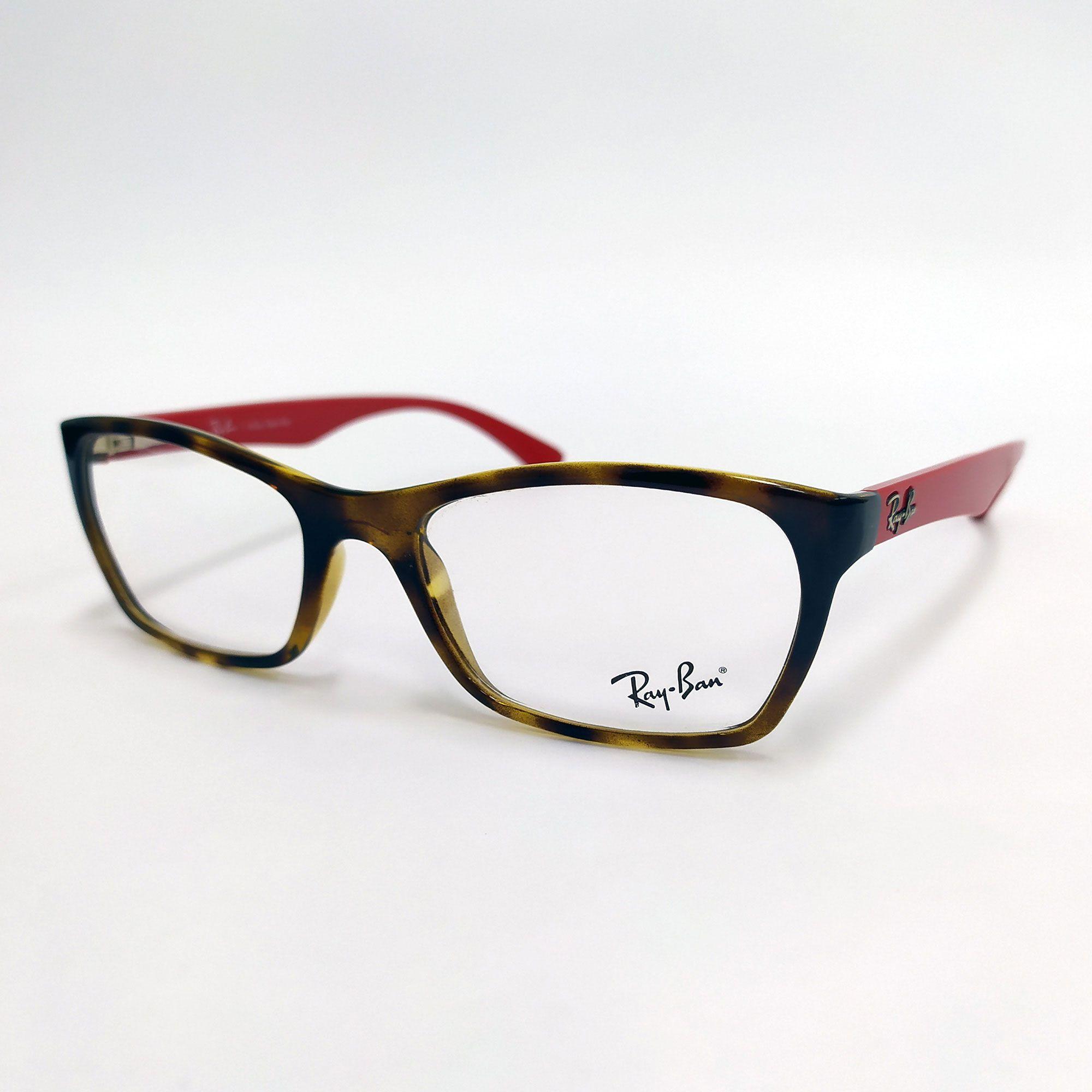 Óculos de Grau Ray-Ban Tartaruga com Hastes Vermelha 7033L 5653