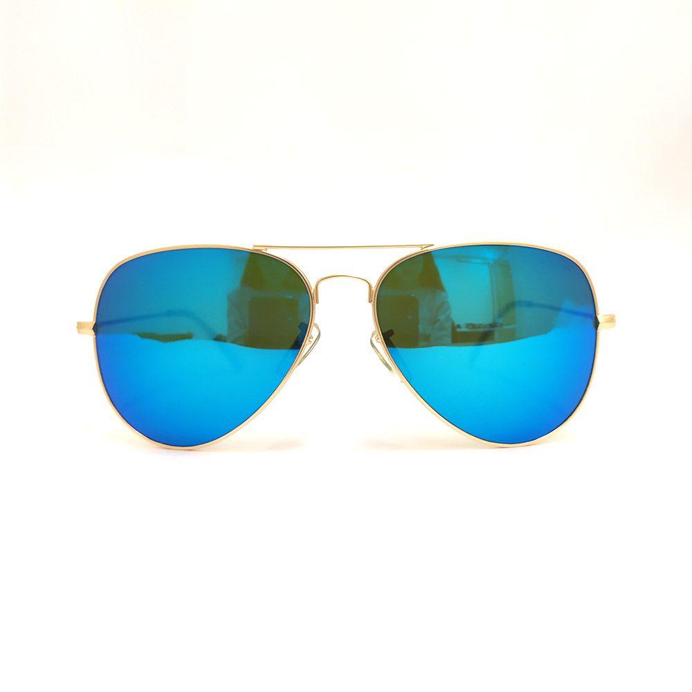 Óculos de Sol Euphoria Dourado Lente Azul Espelhada 5026