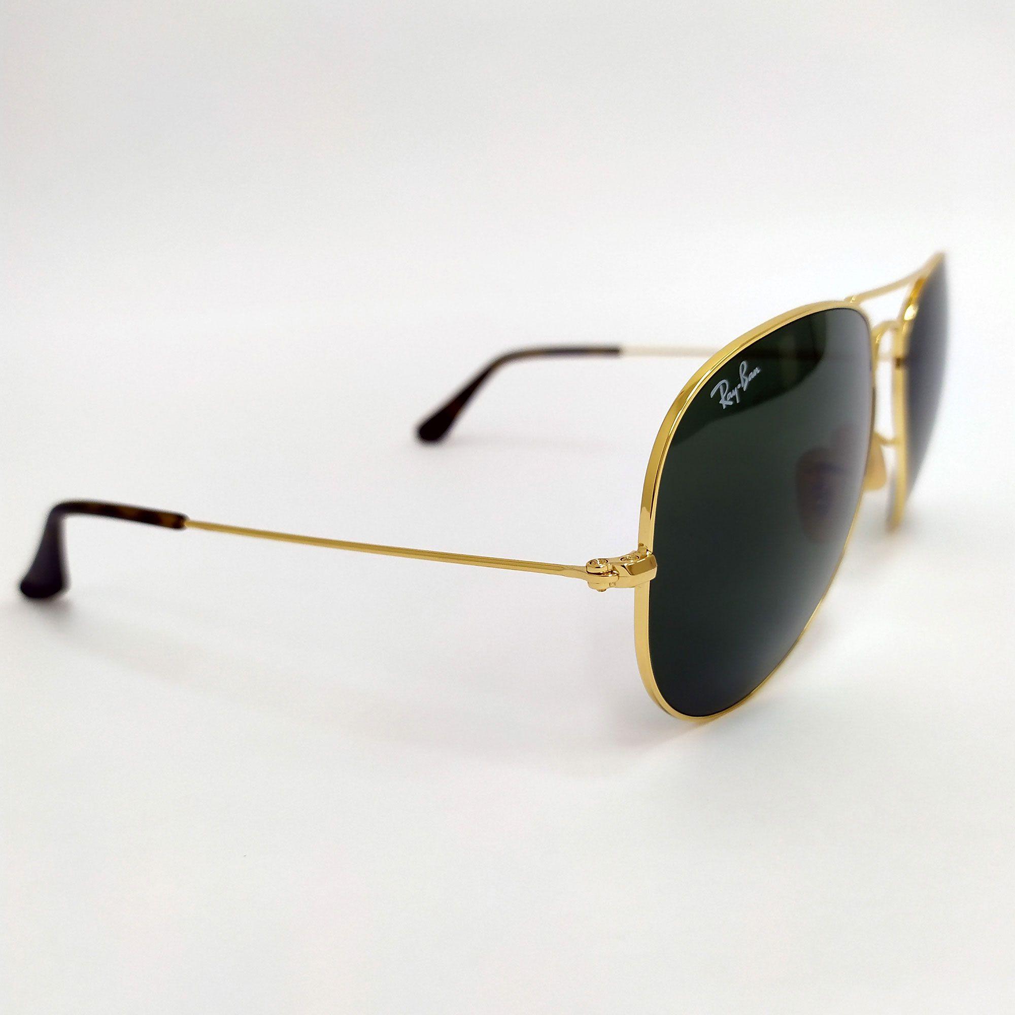 Óculos de Sol Ray-Ban Aviator Arge Metal Lente Verde 3025