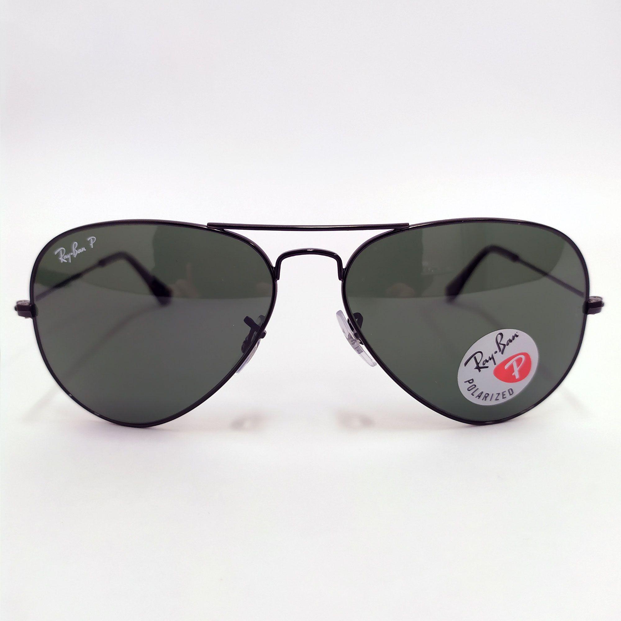 Óculos de Sol Ray-Ban Aviator Clássico Preto com Lente Verde Clássica G-15 3025L