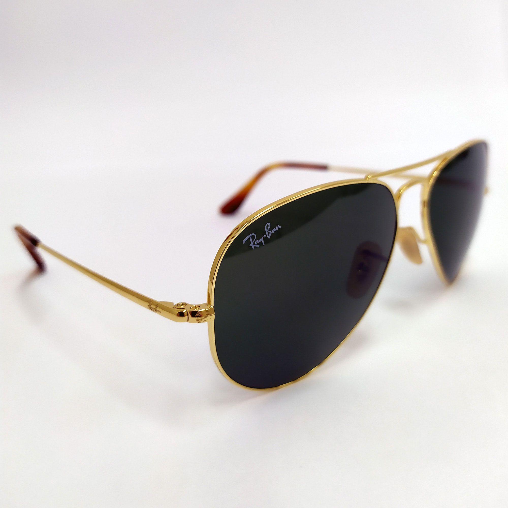 Óculos de Sol Ray-Ban Aviator Dourado Lente Verde 3689