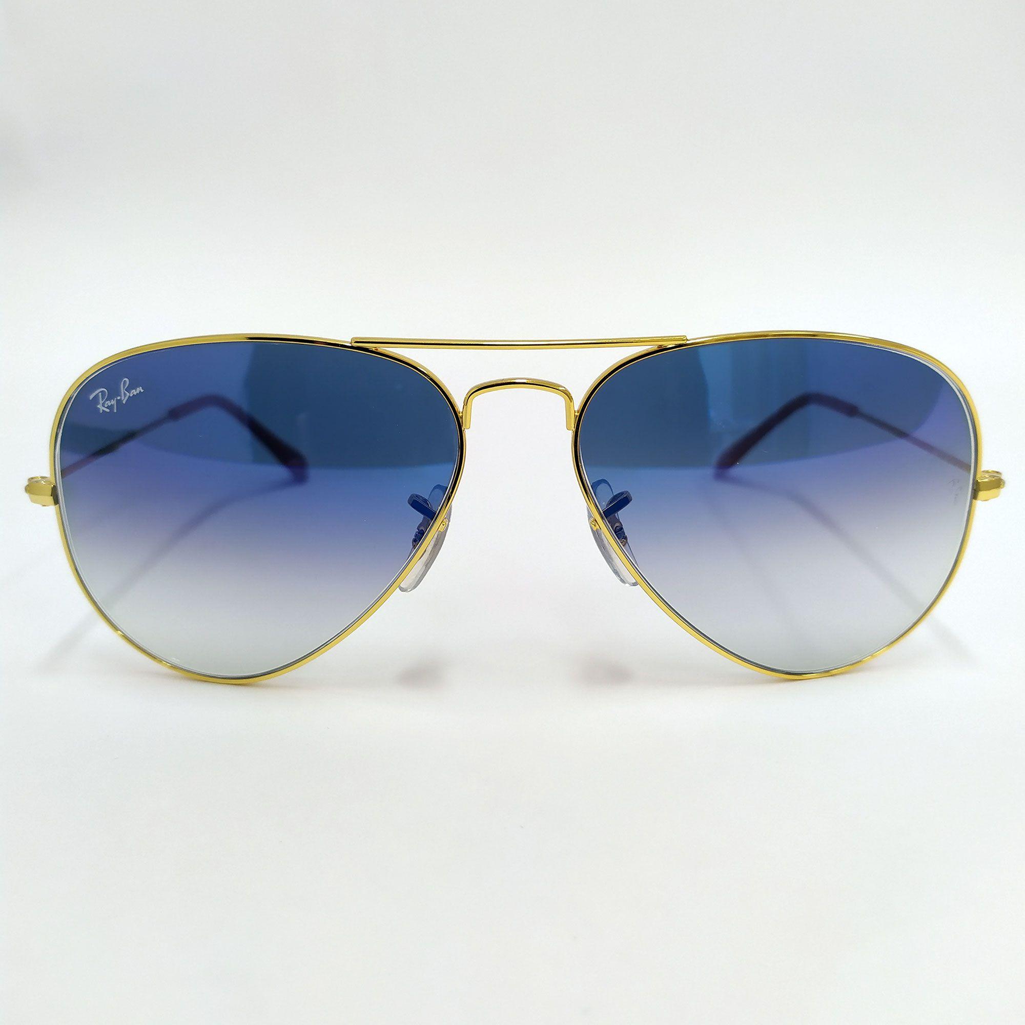 Óculos de Sol Ray-Ban Aviator Gradiente com Lente  Azul-claro Degradê 3025L