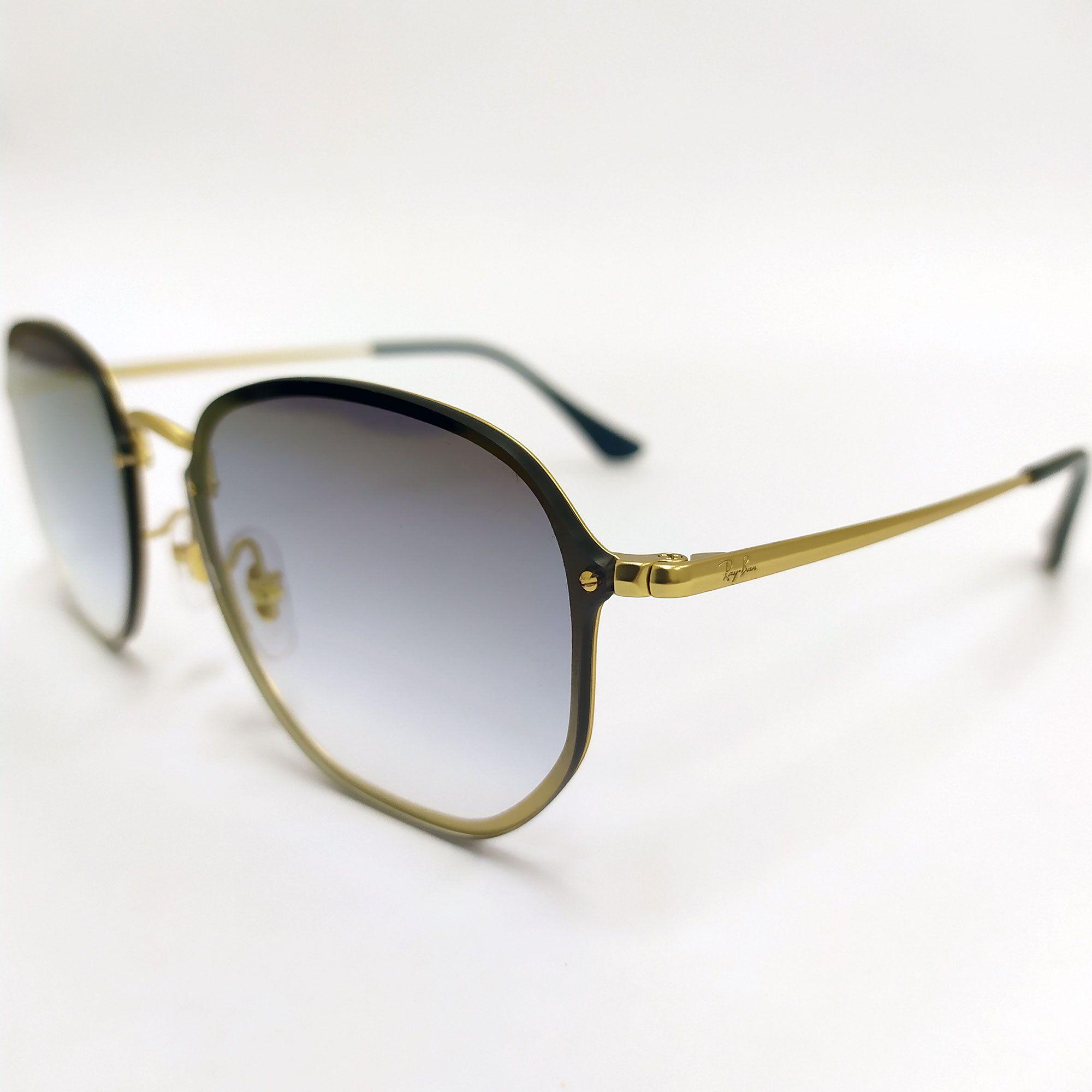 Óculos de Sol Ray-Ban Blaze Hexagonal com Lente Azul Espelhada degradê 3579-N 9140