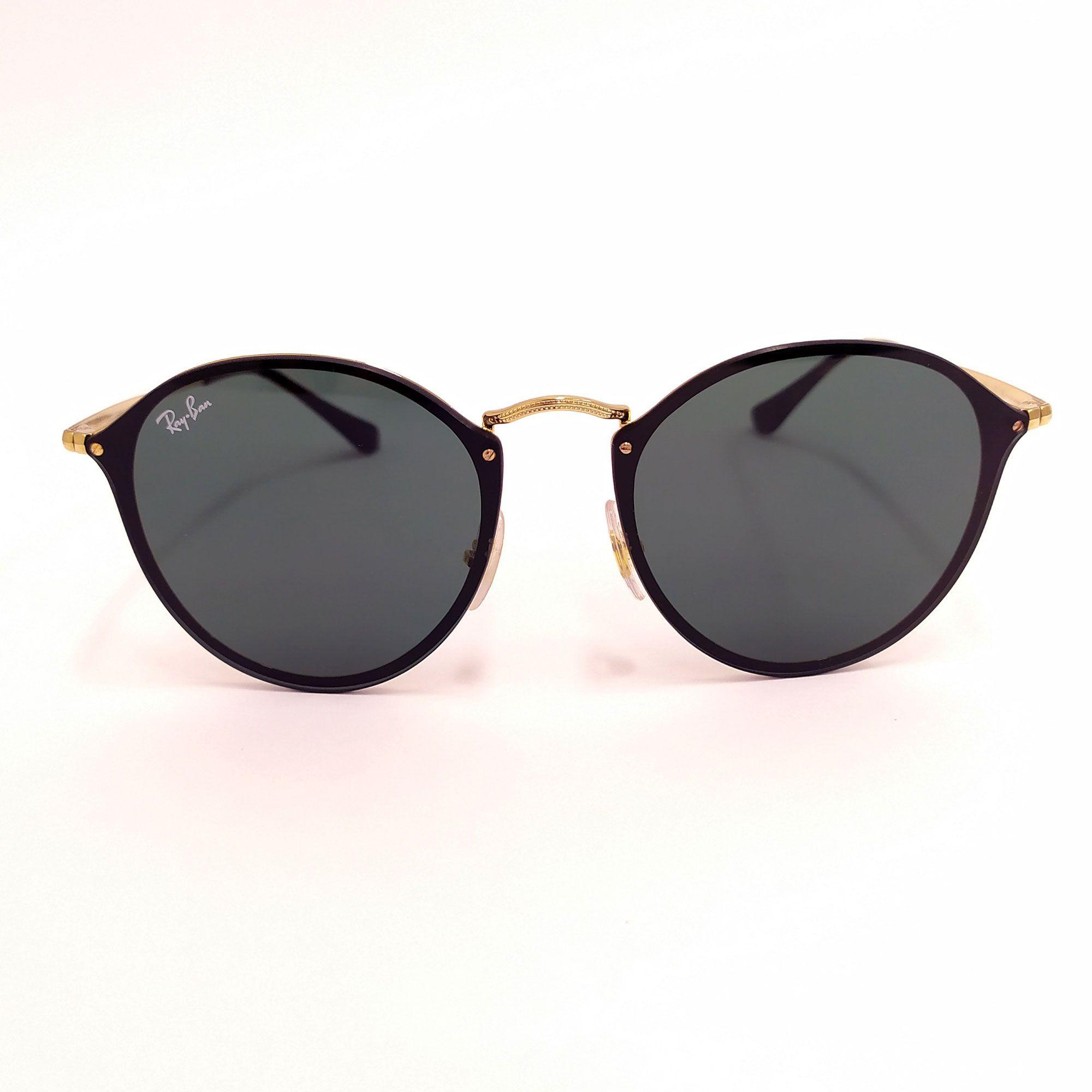 Óculos de Sol Ray-Ban Blaze Round Preto com Haste Dourada 3574-N