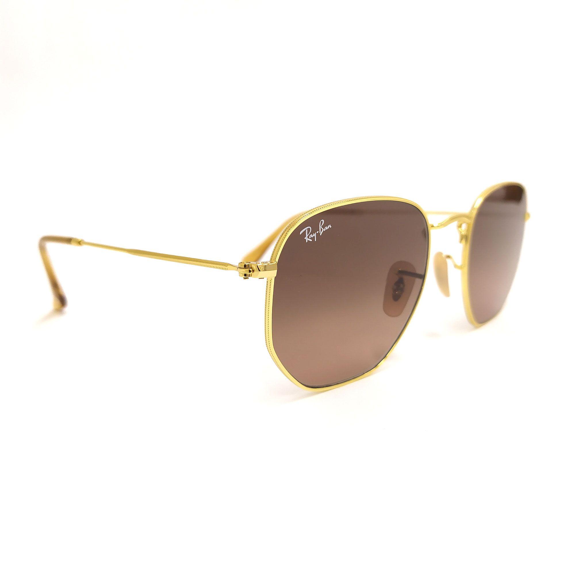 Óculos de Sol Ray-Ban Hexagonal Dourado com Lente Marrom 3548-N