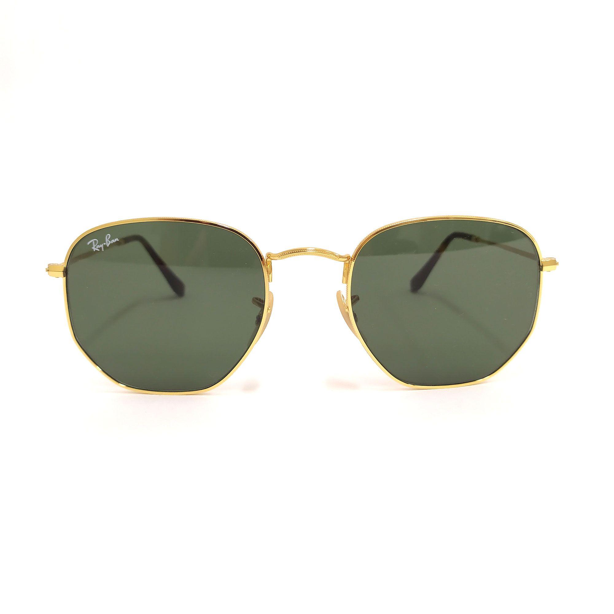 Óculos de Sol Ray-Ban Hexagonal Dourado com Lente Verde 3548-N