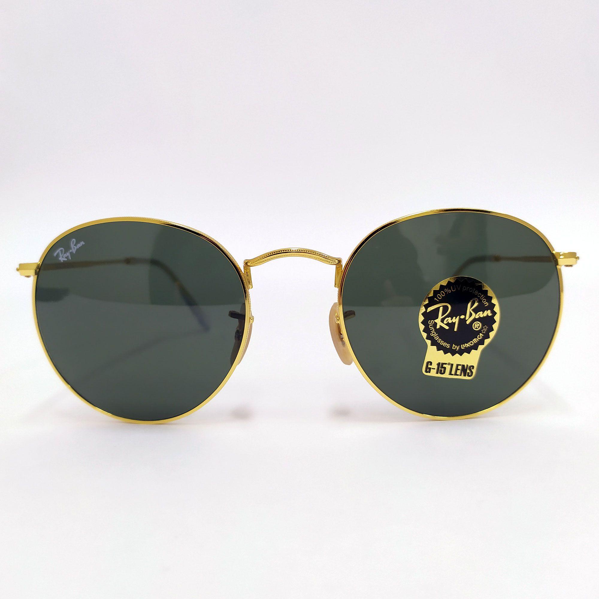 Óculos de Sol Ray-Ban Round Metal com lente Verde Clássica G-15 3447L