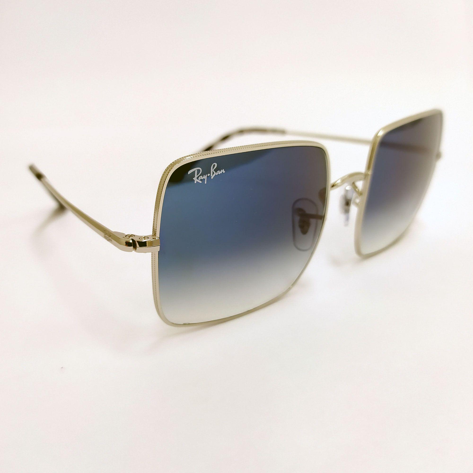 Óculos de Sol Ray-Ban Square Evolve Metálico com Lente Azul Degradê 1971