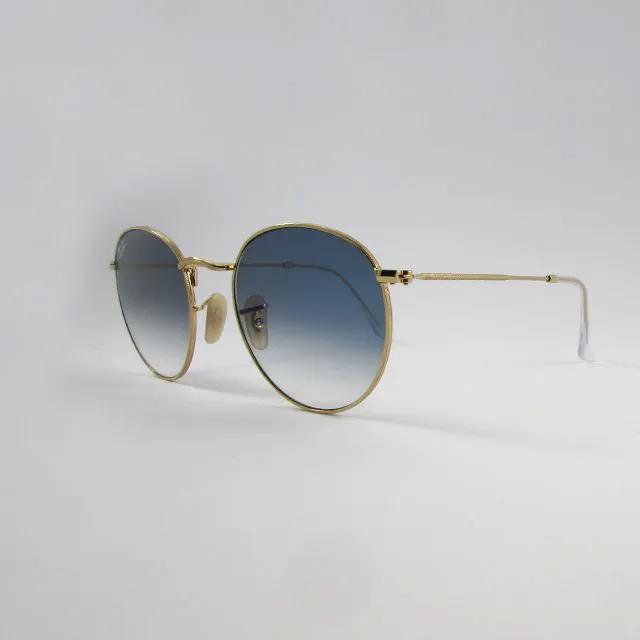 Óculos Solar Ray-ban -  ROUND METAL Ouro e Azul