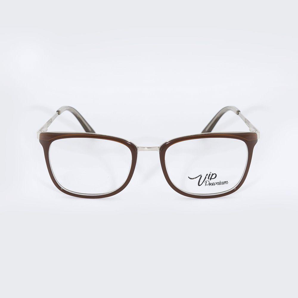 cdf9ce93b7c01 Óculos de Grau Vip Marrom Metal 17-497 - Óticas de Sá