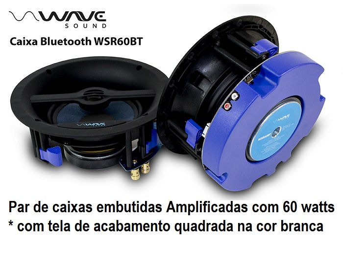 Kit Caixas de embutir ativa Bluetooth Wave Sound WSR60BT Tela Slim Quadrada  BRANCA 60 watts - Kit