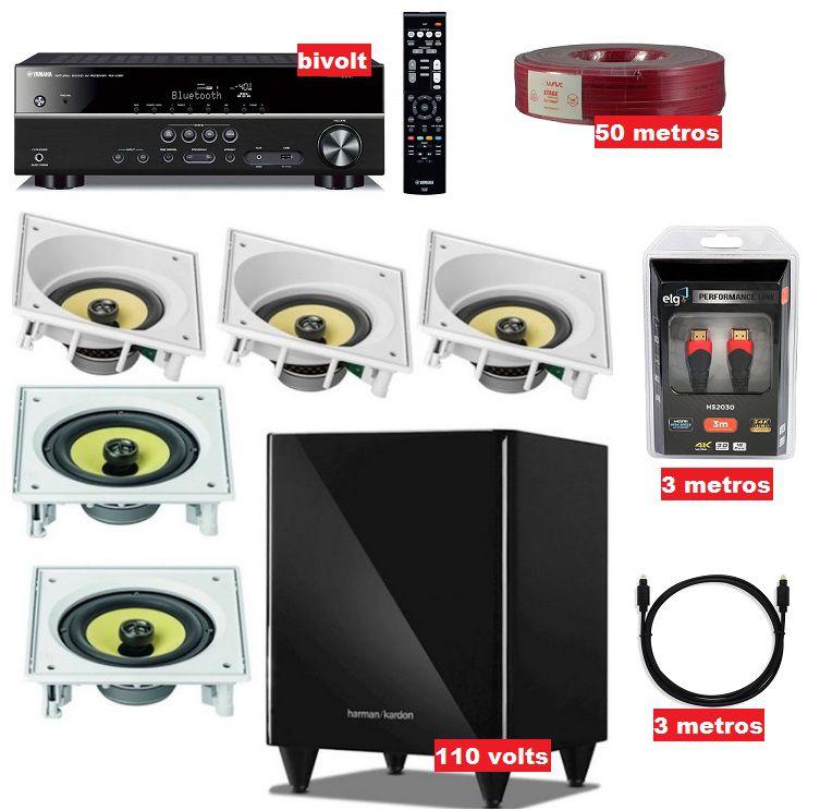 Kit Home theater 5.1 - Rxv485 Yamaha + 5 caixas embutidas JBL + Sub Harman + cabos