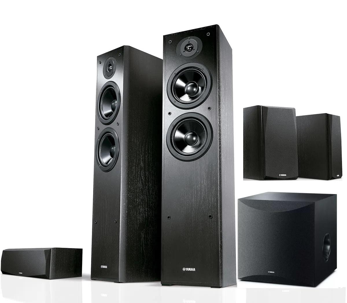 kit 5.1 Yahama para home theater - par de caixas torre F51 + central e bookshelfs P51 + Subwoofer SW100 (preto)