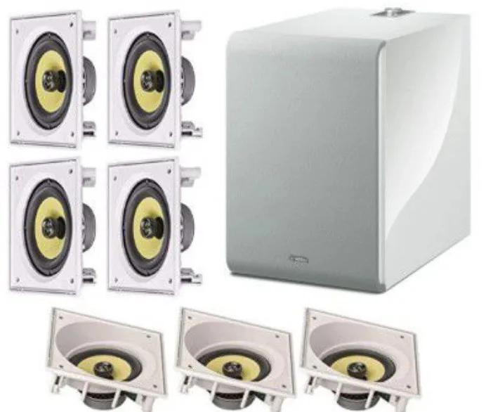 Kit 7.1 JBL + subwoofer YAMAHA - 3 Frontais embutidas JBL Ci6SA + 4 Surrounds Embutidas JBL Ci6s + Sub NS-NSW100 branco MusicCast