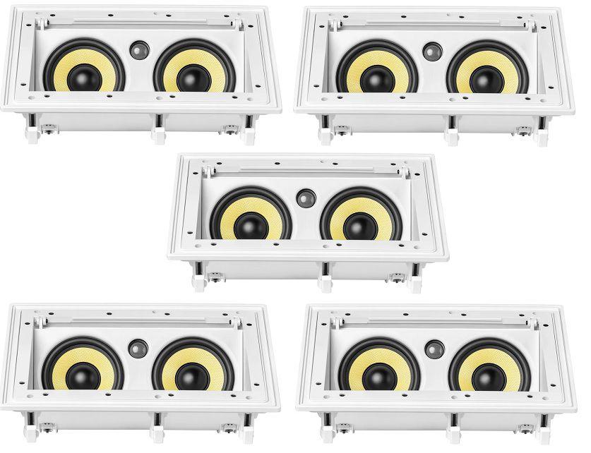 Kit com 5 caixas anguladas JBL Ci55RA - 2 vias - retangulares com tela branca