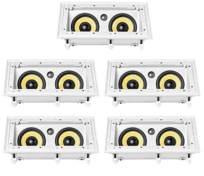 Kit com 5 caixas embutidas anguladas JBL Ci55RA - 2 vias - retangulares com tela branca