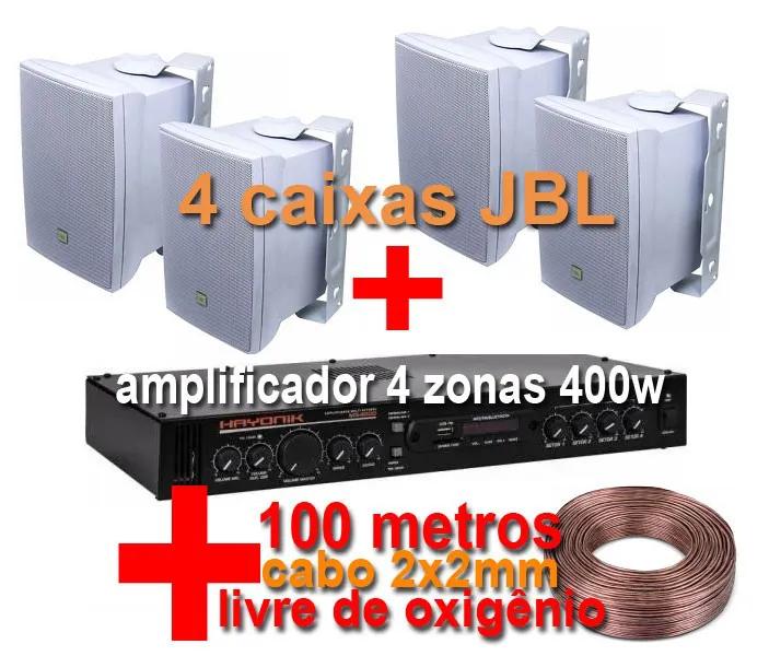 Kit MS4004 - amplificador 4 zonas 400w + 4 caixas JBL - Brinde 100 metros de cabo