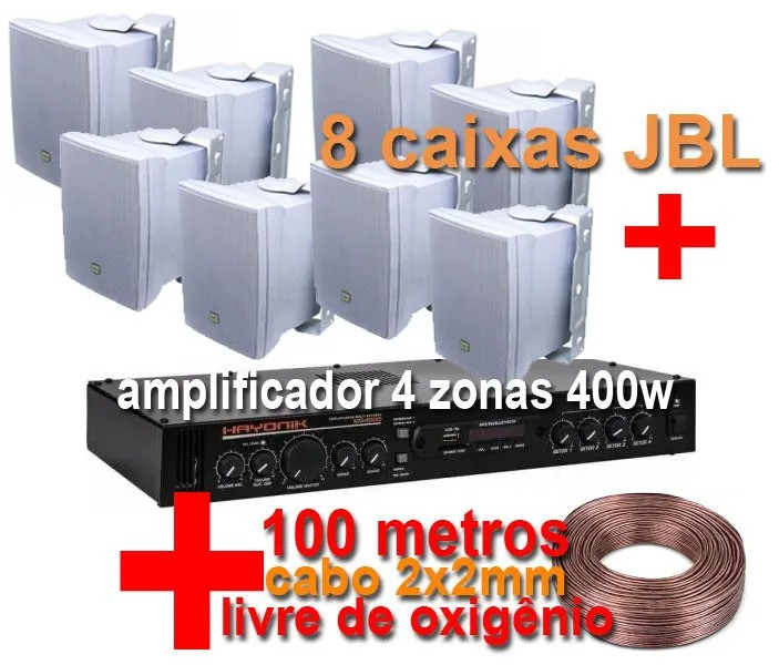 Kit MS4008 - amplificador 4 zonas 400w + 8 caixas JBL - Brinde 100 metros de cabo