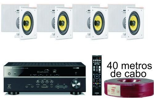 kit som ambiente Receiver Yamaha Rx-v385 + 4 caixas embutidas + cabos