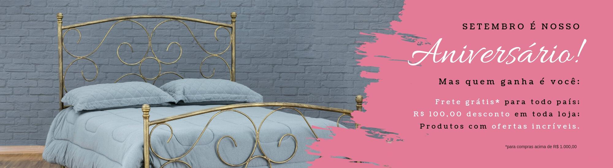 Cupom de frete grátis para camas de ferro